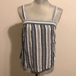 Tops - Vertical Blue and White stripped Thin Strap top